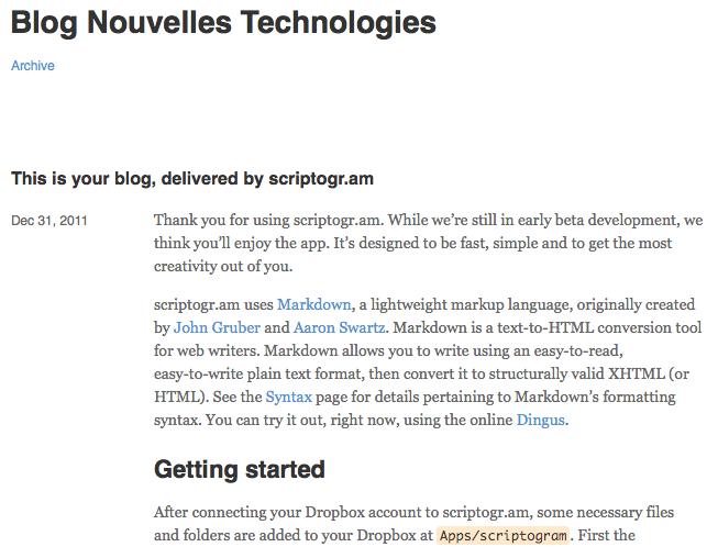 Générer un blog statique avec Drobpox et Scriptogr.am