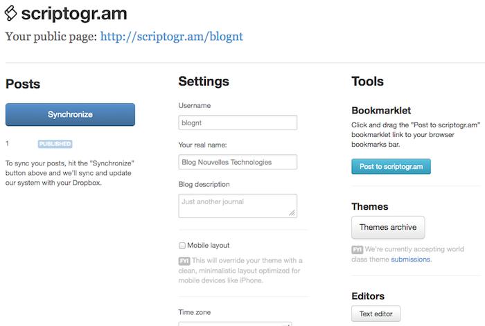 Générer un blog statique avec Drobpox et Scriptogr.am - Administration