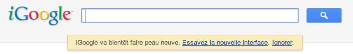 iGoogle y va de son petit changement d'interface - Demande de mise à jour