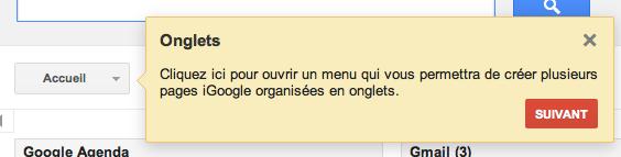 iGoogle y va de son petit changement d'interface - Onglets