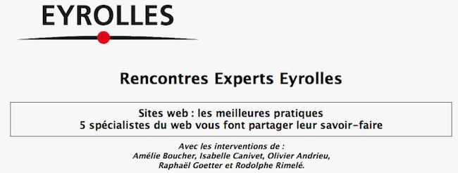 Les événements Web à ne pas manquer dans les semaines et mois à venir - Rencontres Experts Eyrolles