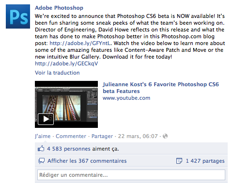 Photoshop CS6 beta voit plus d'un demi million de téléchargements en 6 jours