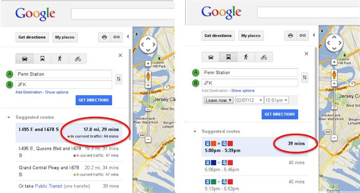 Prise en compte des conditions de circulation actuelles au sein de Google Maps