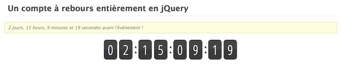Un compte à rebours entièrement en jQuery