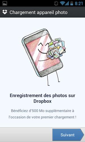 3 Go de stockage de nouveau récupérable sur votre Dropbox grâce à l'upload de photos