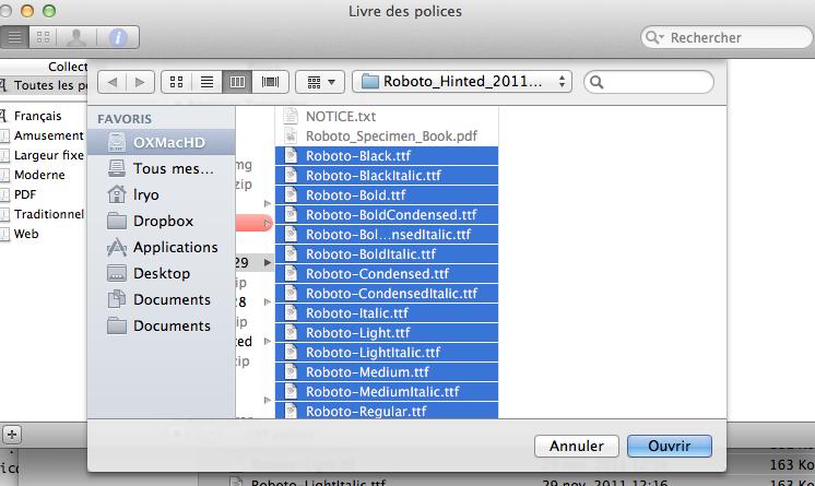 Comment faire pour utiliser la police Roboto de Google partout ? - Roboto OS X
