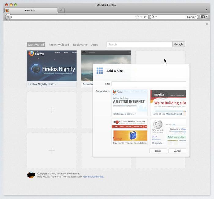 De nouvelles maquettes de l'interface de Firefox ont été postées - Page d'onglets