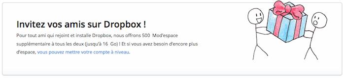 Dropbox double l'espace que vous obtenez lors du parrainage passant à 500 Mo et 1 Go en Pro