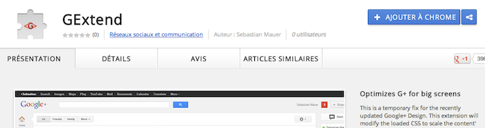 GExtend, optimisez l'espace blanc du nouveau design de Google+