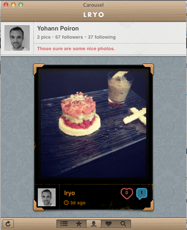 Instagrille une version de bureau d'Instagram sur Windows, et Carousel sur Mac - Carousel