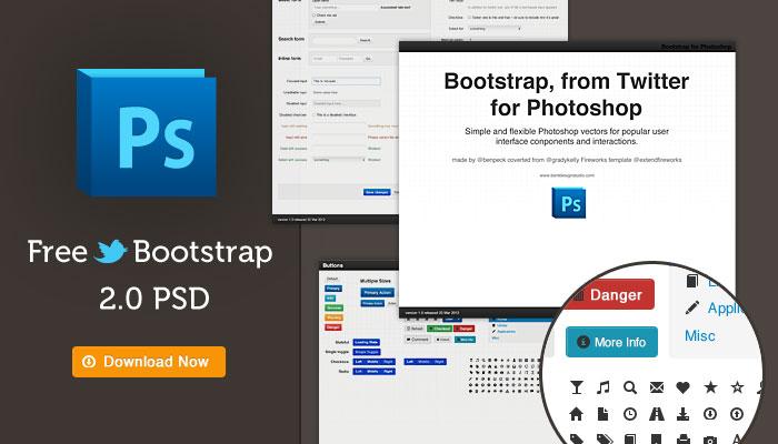 Les acteurs du Web en ont parlé [#29] - Twitter Bootstrap 2.0 Photoshop Template PSD