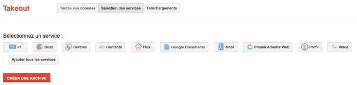 Sauvegarder tous vos documents Google Documents avec Google Takeout - Sélection des services
