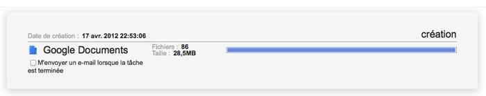 Sauvegarder tous vos documents Google Documents avec Google Takeout - Création de l'archive