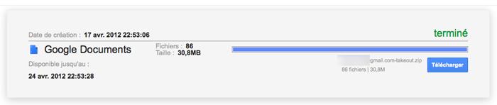 Sauvegarder tous vos documents Google Documents avec Google Takeout - Téléchargement de l'archive