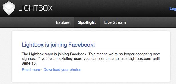 Après Instagram, Facebook englouti Lightbox !!! Il lui reste un mois d'existence...