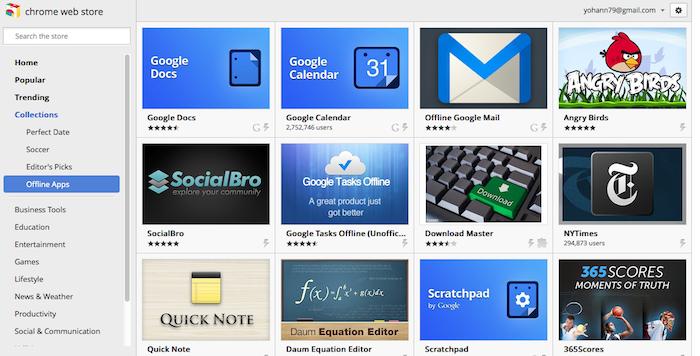 Chrome OS se muscle de nouveau : édition hors-ligne, Aura, accès bureau à distance, ... - Applications hors-lignes dans le Chrome Web Store