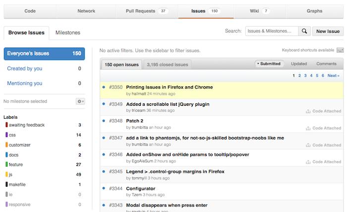 Comprendre GitHub : Fork, Branch, Track, Squash et Pull Request - La partie Issues du Bootstrap Twitter