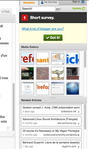Des extensions Firefox que tout blogueur doit avoir ! - Zemanta 1.0