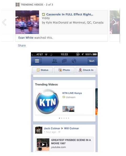 Facebook ajoute les vidéos tendances dans son flux d'actualités