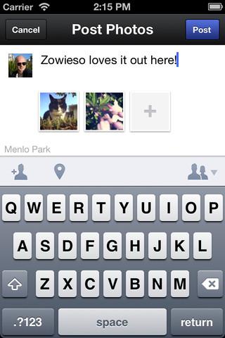 Facebook lance (enfin) son application photo pour iOS - Commentaire posté sur une photo