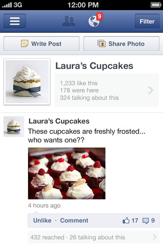 Facebook publie Pages Manager, une application dédiée aux marques et aux pages de fans - Vue du mur d'une page Facebook