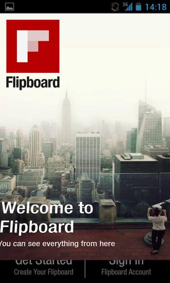 Flipboard débarque vos Android ! - Page d'accueil de Flipboard sur Android