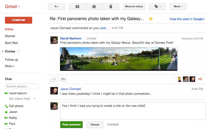 Gmail propose désormais de répondre aux publications Google+ à partir de votre boîte de réception - Notifications Google+ par mail