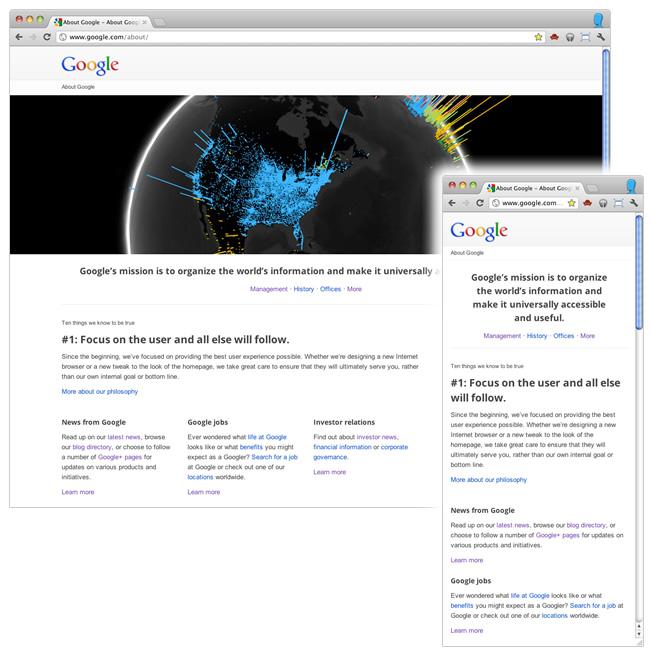 Google explique sa conception d'une page Web Responsive - Google utilise le responsive webdesign sur la page about