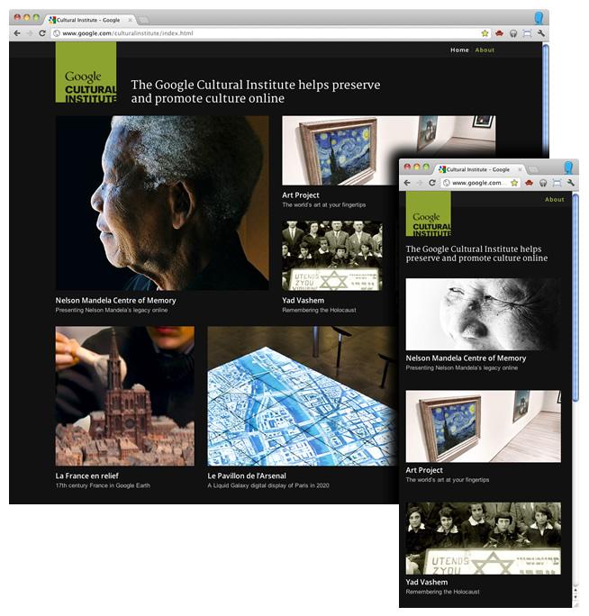 Google explique sa conception d'une page Web Responsive - Google utilise le responsive webdesign sur le site Cultural Institute