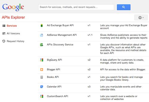 Google met à jour son APIs Explorer avec un nouveau look