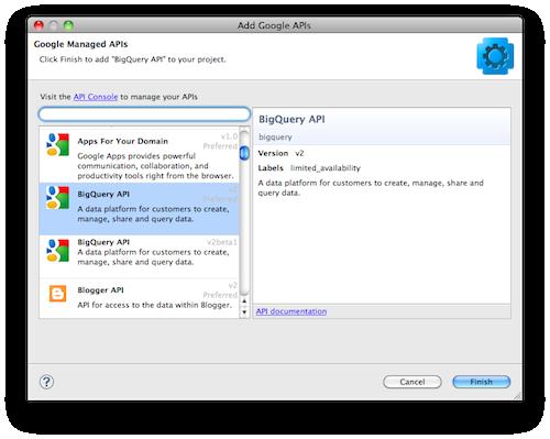 Google met à jour son plugin Eclipse avec plus d'APIs - Import des APIs Google