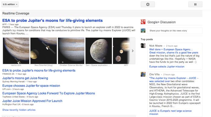 Google News intègre désormais le contenu de Google+