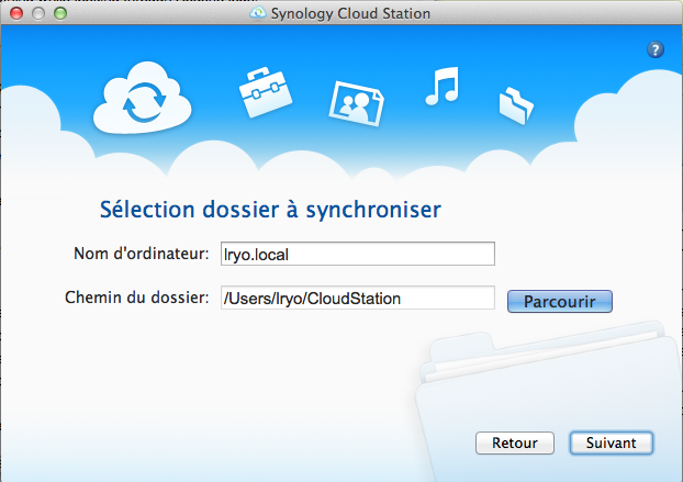 L'application Cloud Station sur Mac lancée par Synology - Sélection du dossier à synchroniser