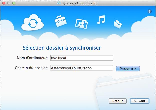 L'application Cloud Station sur Mac lancée par Synology - Sélection du dossier à synchroniser