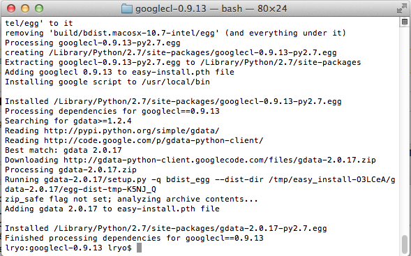 Le Guide du débutant pour utiliser GoogleCL - Installation de GoogleCL depuis ma machine Mac