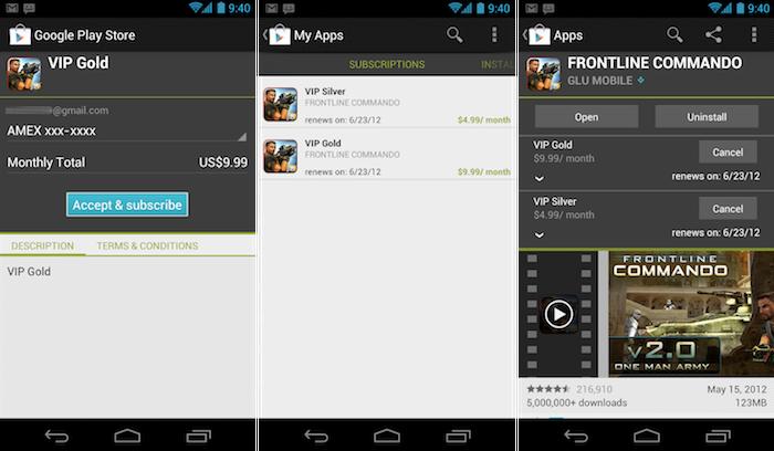 Les abonnements in-app sont maintenant disponibles sur Google Play