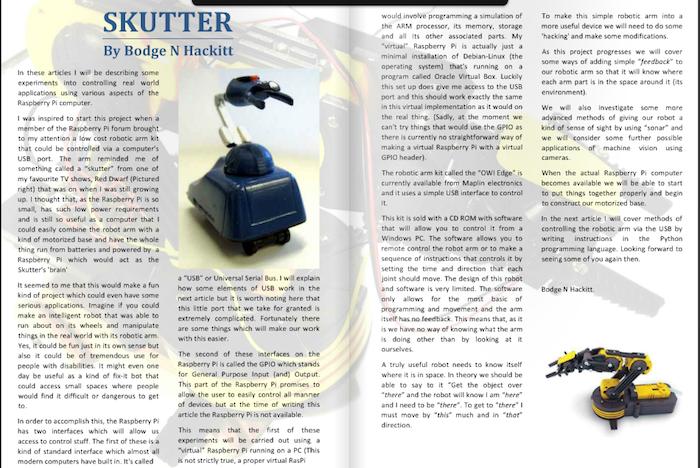 MagPI le magazine officiel consacré au Raspberry PI - Article sur un robot embarquant un Raspberry PI