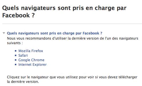 Navigateurs non pris en charge par Facebook, que peut-on en dire ? - Page d'aide de Facebook : Quels navigateurs sont pris en charge par Facebook ?