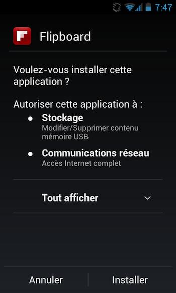 Télécharger directement l'APK de Flipboard bêta sur Android dès maintenant - Écran d'installation de Flipboard