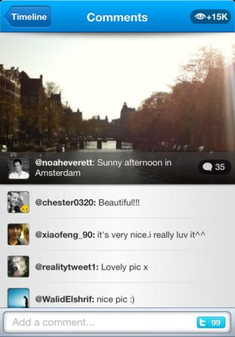 Twitpic publie sa propre application iPhone avec des filtres ! De quoi concurrencer Instagram ? - Vue des commentaires dans Twitpic