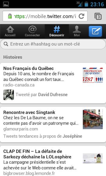 Twitter met à jour son site Web mobile - Twitter version mobile sur un téléphone Galaxy S - Onglet Découvrir