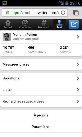 Twitter met à jour son site Web mobile - Twitter version mobile sur un téléphone Galaxy S - Onglet Moi