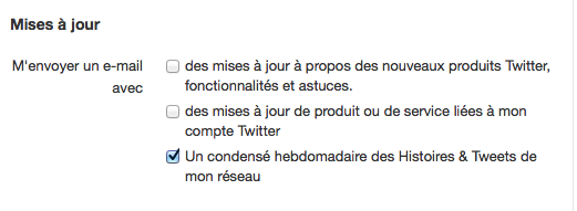Twitter va bientôt vous permettre de recevoir un résumé de la semaine par mail - Option 'Un condensé hebdomadaire des Histoires & Tweets de mon réseau'