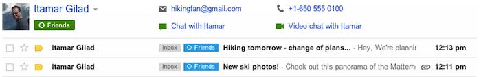 Une mise à jour Gmail inclut une amélioration de l'intégration de Google+ - Détails supplémentaires sur un contact Google