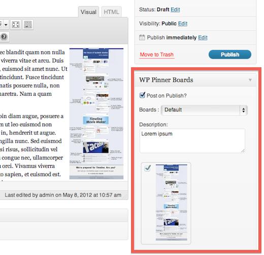 WP Pinner : Poster automatiquement les images de WordPress vers Pinterest - Configuration au sein de vos articles