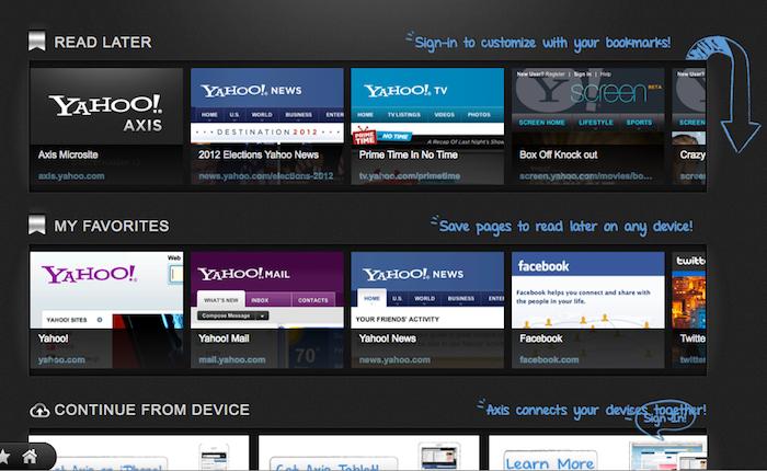 Yahoo! lance Axis : un navigateur plus visuel, social, et portable - Outil de bookmarking de Yahoo! Axis