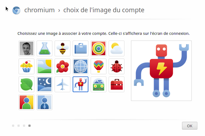 Comment installer Chrome OS sur VirtualBox et en USB - Choix de l'image du compte au démarrage de Chrome OS