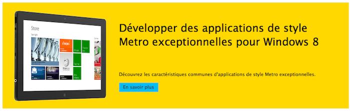 Créer facilement vos applications pour Windows 8 Metro
