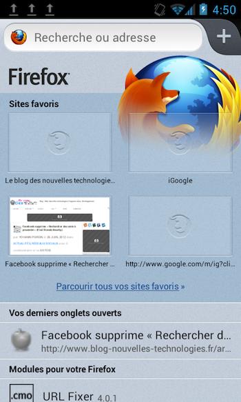 Essayer le nouveau Firefox pour Android - Affichage du BlogNT sur Firefox pour Android