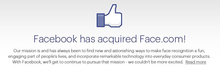 Facebook acquiert Face.com et sa technologie de reconnaissance faciale - Face.com affiche un message de rachat sur son site